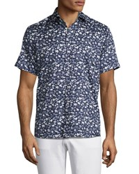 Etro Safari Print Short Sleeve Sport Shirt Navy