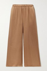 Theory Cropped Washed Silk Satin Wide Leg Pants Camel