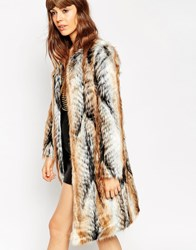 Asos Coat In Longline Vintage Faux Fur Multi
