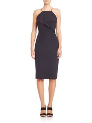 Tomas Maier Draped Crepe De Chine Dress Black