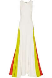 Milly Color Block Fluted Cady Gown White
