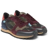 Valentino Garavani Rockrunner Camouflage Print Canvas Leather And Suede Sneakers Green