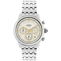 Rotary Gb02876 02 Men's Monaco Chronograph Bracelet Strap Watch Silver White