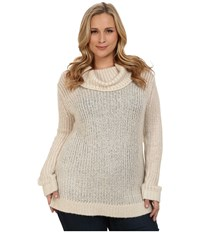 Dkny Plus Size Turtleneck Yarn Mix Pullover Almond Women's Long Sleeve Pullover Brown