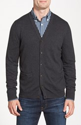 Men's Big And Tall Nordstrom Regular Fit Cotton And Cashmere Cardigan Grey Dark Charcoal Heather