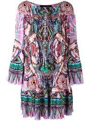 Roberto Cavalli Abstract Print Shift Dress Pink Purple