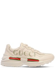 Gucci Rhyton Print Leather Sneakers Ivory