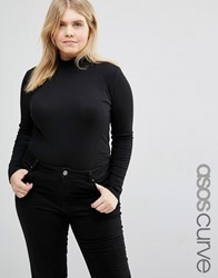 Asos Curve Turtle Neck Top With Space Dye Black
