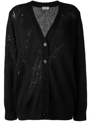 Saint Laurent Oversized Grunge Cardigan Women Nylon Mohair Wool 38 Black