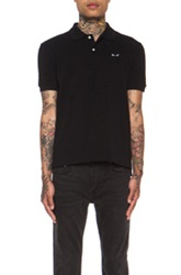 Comme Des Garcons Play Cotton Polo With Black Emblem In Black