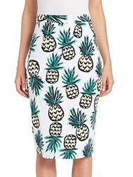 Milly Pineapple Print Pencil Skirt Multicolor