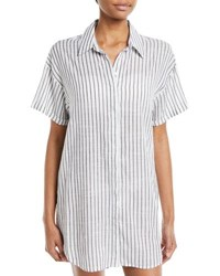 Red Carter Button Down Striped Coverup Tunic White