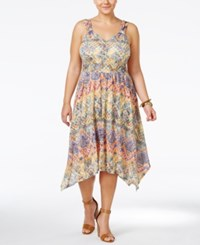 American Rag Plus Size Printed Midi Dress Only At Macy's Sodalite Blue Combo