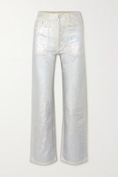 Helmut Lang Factory Metallic High Rise Flared Jeans Silver