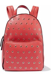 Red Valentino Eyelet Embellished Textured Leather Backpack Tomato Tomato Red