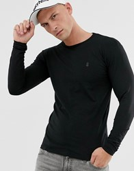 Soul Star Long Sleeve Top In Muscle Fit In Black