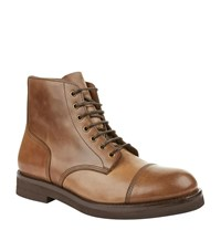 Brunello Cucinelli Burnished Leather Ankle Boots Male Brown