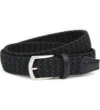 Andersons Woven Elastic And Leather Belt Navy Green