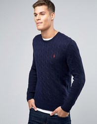 Polo Ralph Lauren Cotton Cable Knit Jumper In Regular Fit Navy Blue
