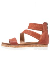 Mjus Sunrise Platform Sandals Cannella Red Metallic