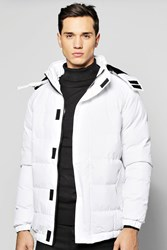 Boohoo Quilted Parka Jacket White