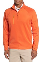 Bobby Jones Men's 'Crawford Xh20' Stretch Quarter Zip Golf Pullover Orange Tango