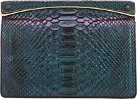 Zagliani Python Sharon Small Clutch Green