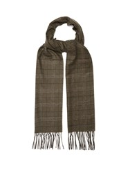 Dunhill Checked Silk And Cashmere Blend Scarf Khaki Multi