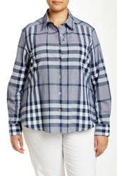 Foxcroft Long Sleeve Navy Plaid Shirt Plus Size Blue