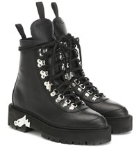 Off White Leather Ankle Boots Black