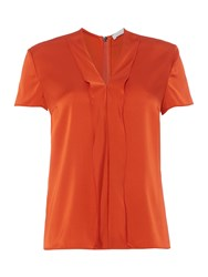 Hugo Boss Ikarsi Ruffle Detail V Neck Silk Top Red