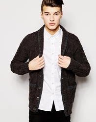 Ringspun Cardigan With Shawl Collar Brown