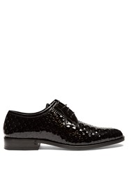 Saint Laurent Montaigne Perforated Patent Leather Derby Shoes Black