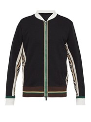 Fendi Ff Logo Cotton Blend Track Jacket Black Multi