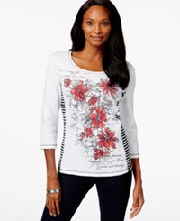 Karen Scott Botanical Print Long Sleeve Top Only At Macy's New Red Amore