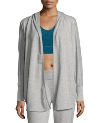 Nanette Lepore Play Breaded Trim Hooded Cardigan Light Gray