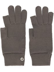 Rick Owens Knitted Gloves Grey