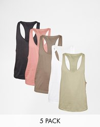 Asos Vest With Extreme Racer Back 5 Pack Save 23 Multi