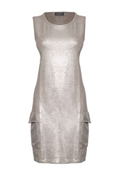 James Lakeland Metallic Shine Dress Silver Metallic