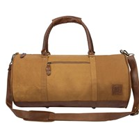 Mahi Leather Classic Duffle Overnight Gym Bag In Yellow Canvas
