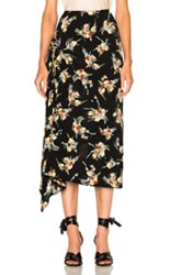 Marni Printed Skirt In Black Floral Yellow Black Floral Yellow