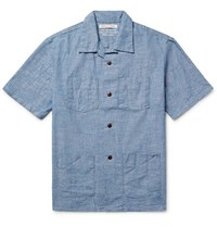 Outerknown Cayman Camp Collar Cotton Chambray Shirt Blue