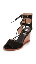 Blank Canvas Lace Up Wedge Sandals Black