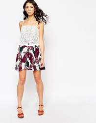 Motel Simone Skater Skirt In Floral Midnight Print White