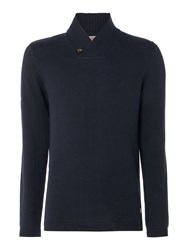 Jack And Jones Men's Shawl Neck Knitted Cotton Jumper Navy