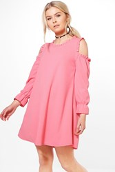 Boohoo Cold Shoulder Ruffle Sleeve Dress Coral