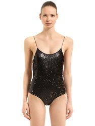 Oseree Swimwear Sequined One Piece Swimsuit Black Gold