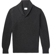 Kingsman Shawl Collar Wool And Cashmere Blend Sweater Charcoal