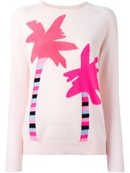 Chinti And Parker 'Palm Tree' Jumper Pink Purple