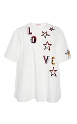 Dice Kayek Embellished Sequin Star And Love Short Sleeve Top White